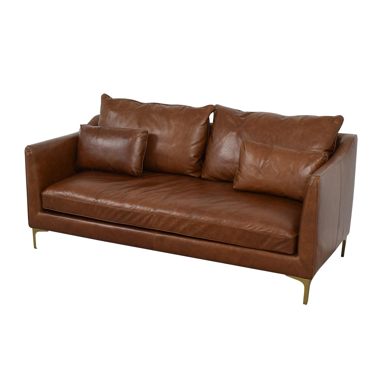 buy Caitlin Cognac Leather Single Cushion Sofa