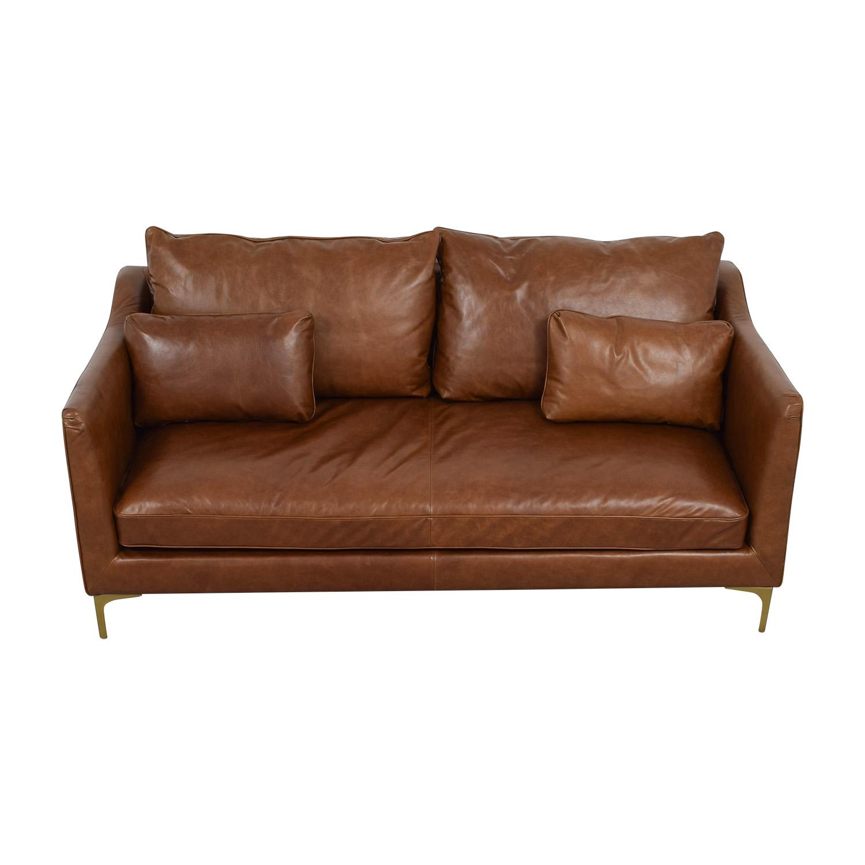 Caitlin Cognac Leather Single Cushion Sofa on sale