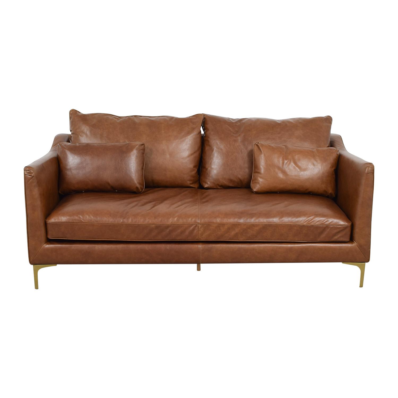 Caitlin Cognac Leather Single Cushion Sofa Classic Sofas