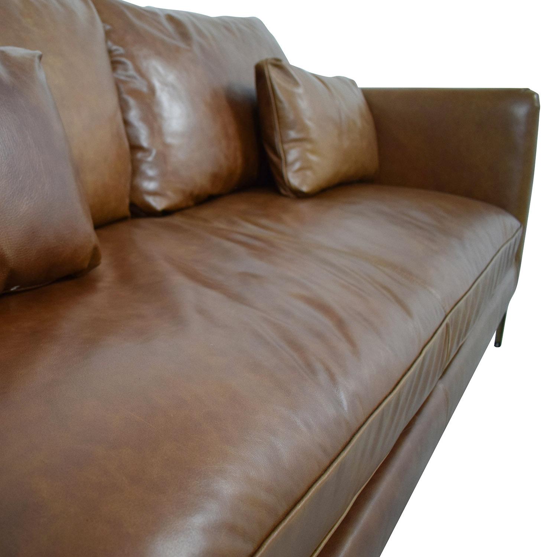 shop Caitlin Cognac Leather Single Cushion Sofa  Sofas