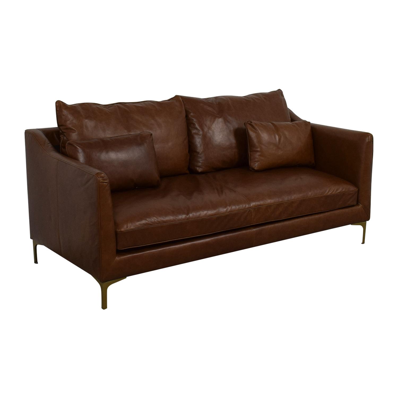 Caitlin Cognac Leather Single Cushion Sofa coupon