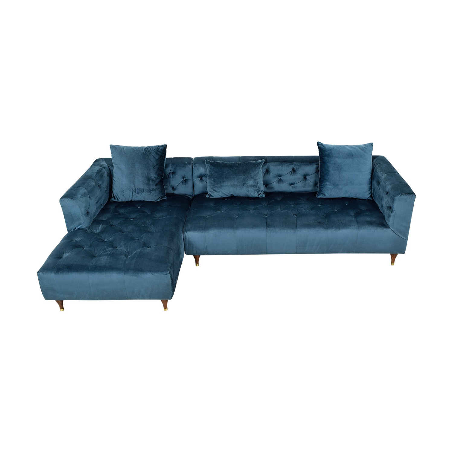 Ms. Chesterfiel Velvet Sapphire Blue Tufted Left Chaise Sectional coupon