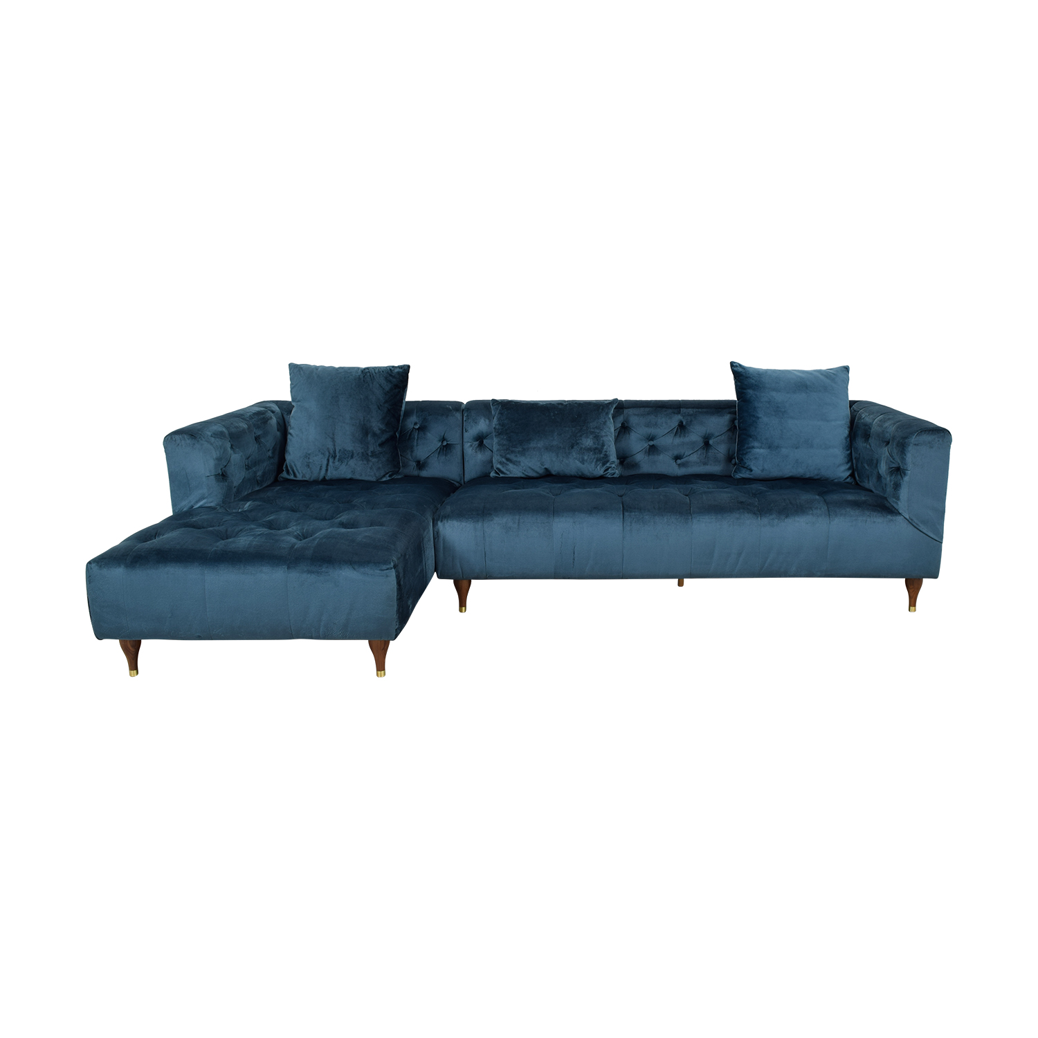 Ms. Chesterfiel Velvet Sapphire Blue Tufted Left Chaise Sectional second hand