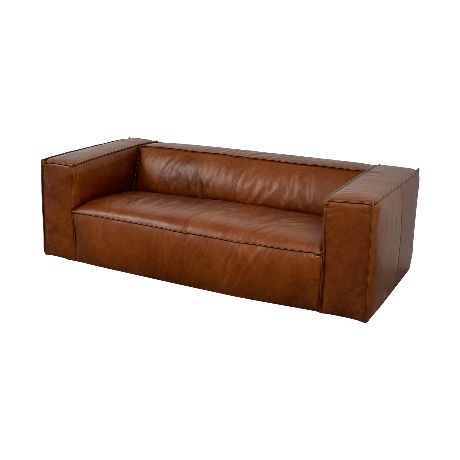 Leather Sofa Price: Cognac Leather High Arm Sofa / Sofas