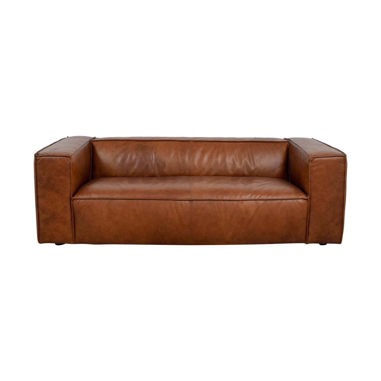 Amazing 44 Off Cognac Leather High Arm Sofa Sofas Theyellowbook Wood Chair Design Ideas Theyellowbookinfo
