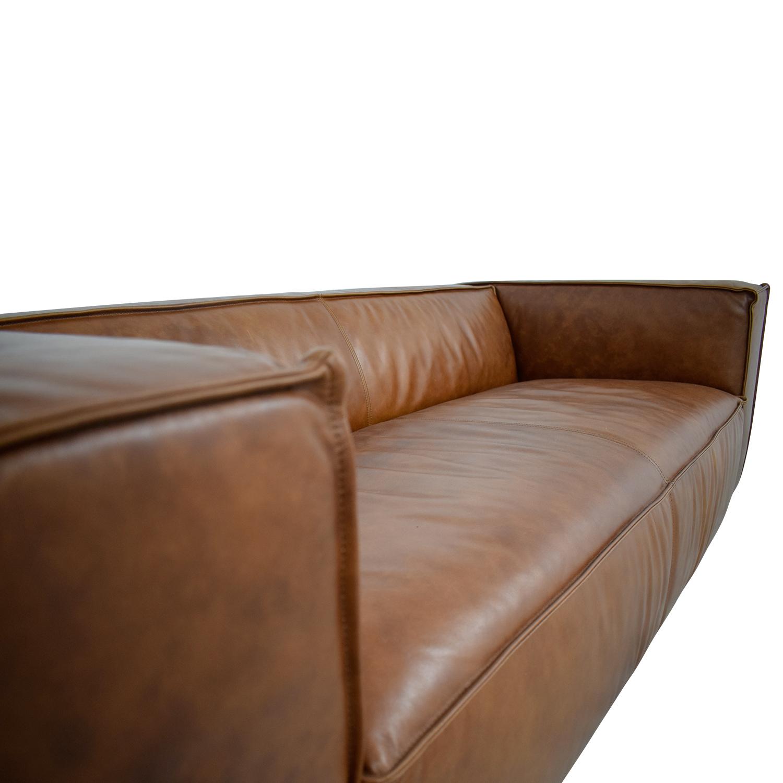 Cognac Leather High Arm Sofa nj