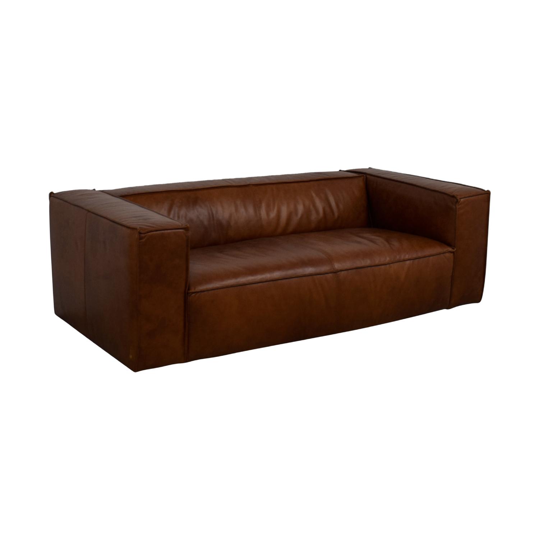 buy  Cognac Leather High Arm Sofa online
