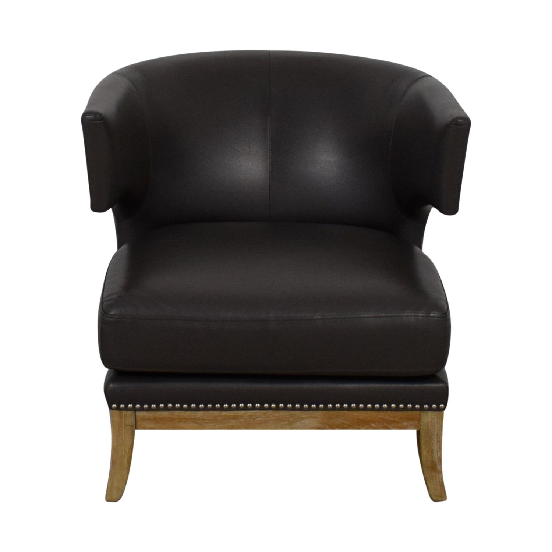Sunpan Modern Home Sunpan Modern Home Napoli Grey Leather Nailhead Chair Accent Chairs