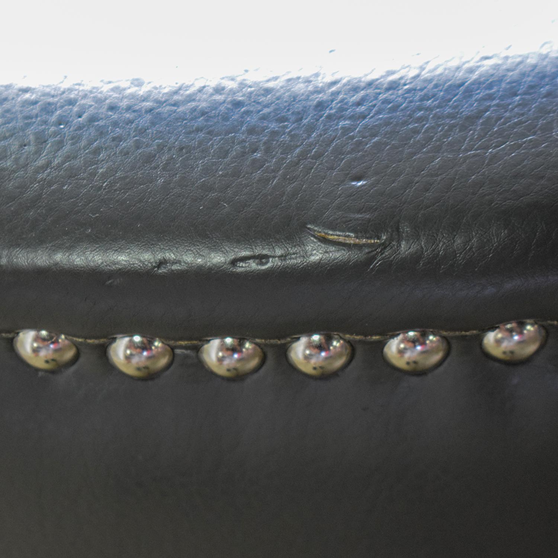 shop Sunpan Modern Home Napoli Grey Leather Nailhead Chair Sunpan Modern Home Accent Chairs