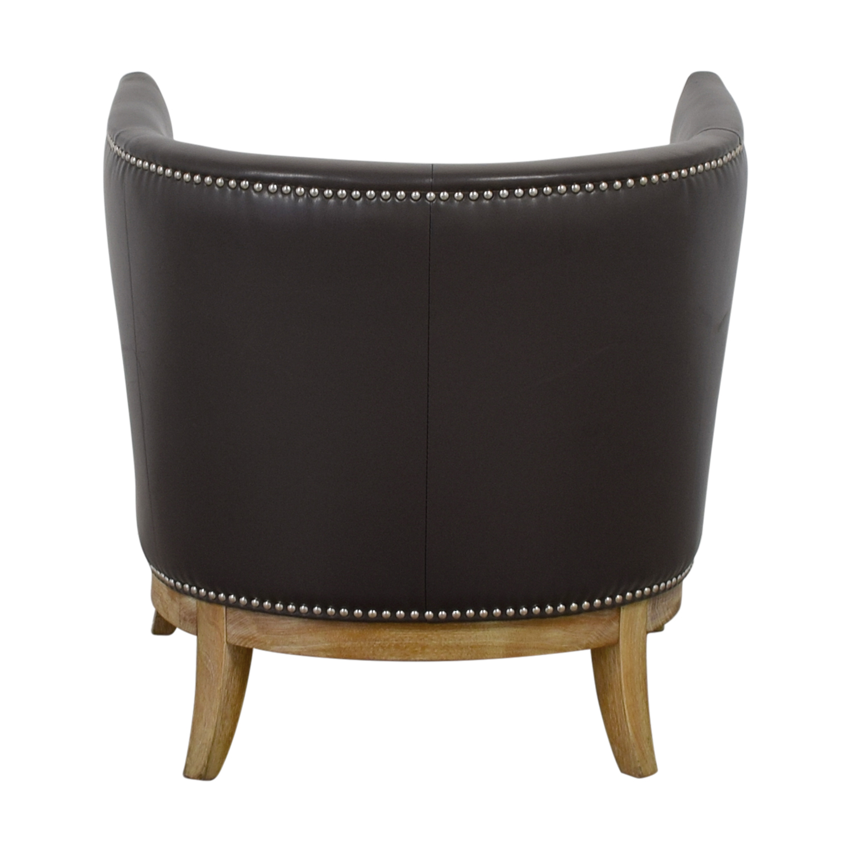 Sunpan Modern Home Sunpan Modern Home Napoli Grey Leather Nailhead Chair Grey