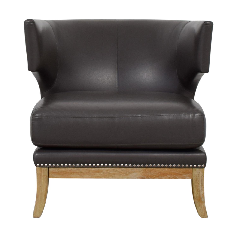 Sunpan Modern Home Sunpan Modern Home Napoli Grey Leather Nailhead Chair