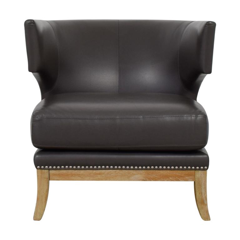 shop Sunpan Modern Home Napoli Grey Leather Nailhead Chair Sunpan Modern Home
