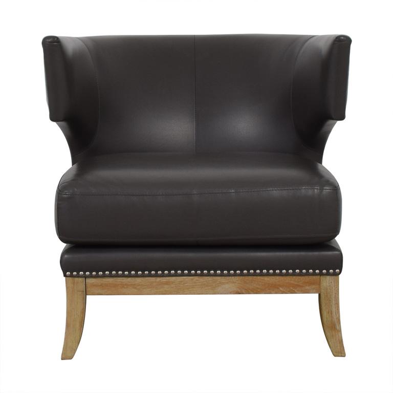 Sunpan Mondern Home Sunpan Mondern Home Napoli Grey Leather Nailhead Accent Chair second hand