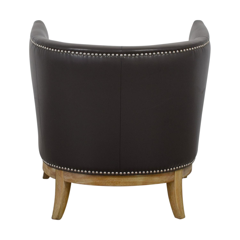 shop Sunpan Modern Home Napoli Grey Leather Nailhead Chair Sunpan Modern Home Chairs