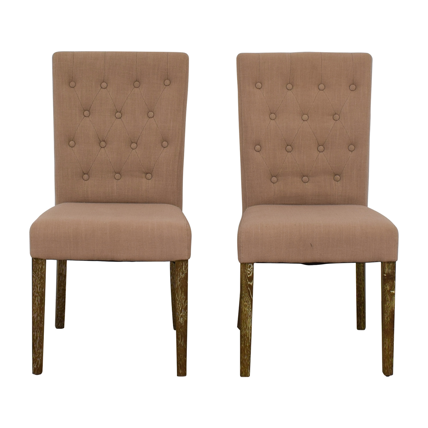 Classic Concepts Classic Concepts Tufted Beige Linen Dining Chairs second hand
