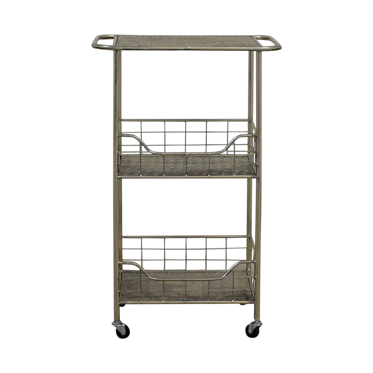 ABC Carpet & Home Silver Plated Kitchen Cart sale