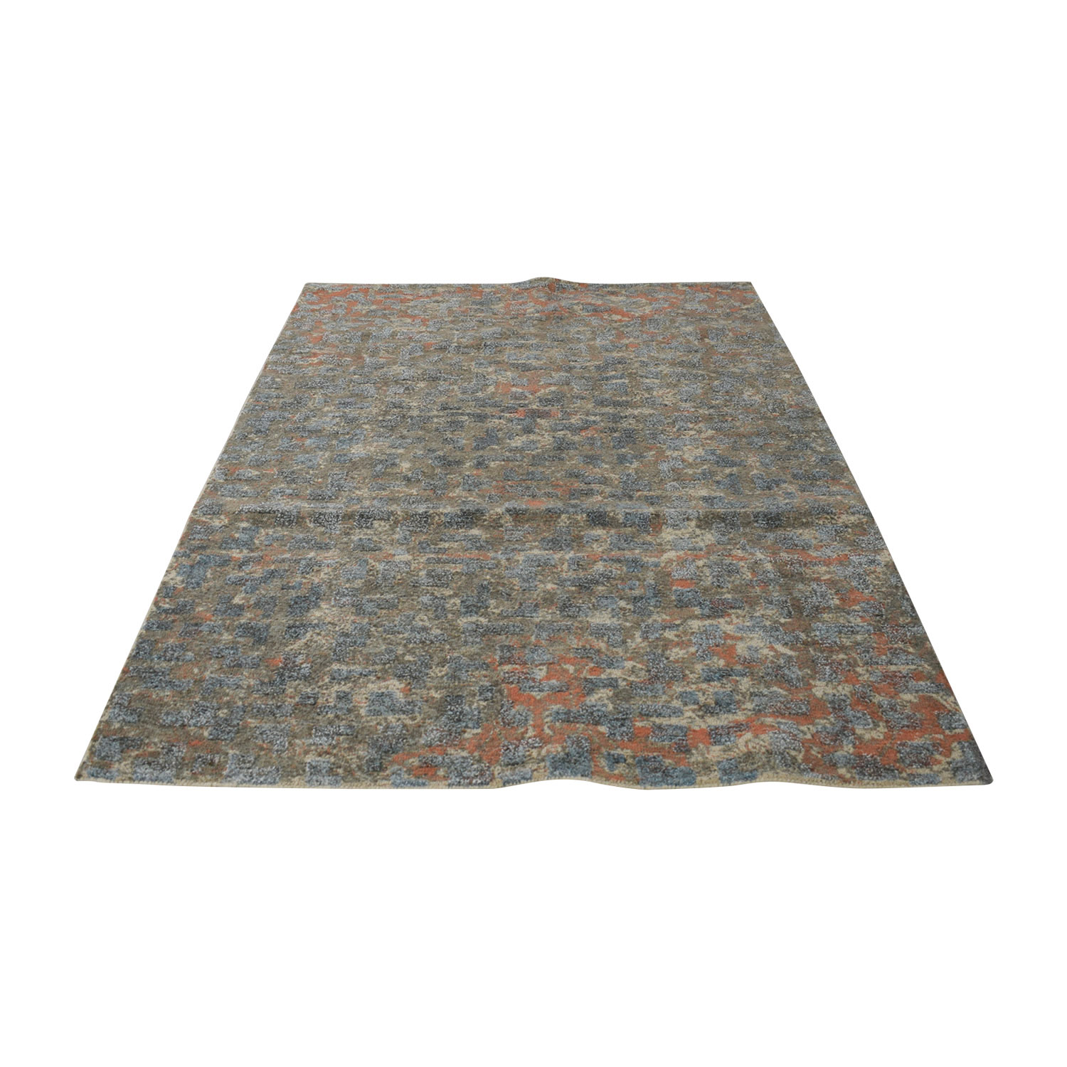 Obeetee 5X8 Blue and Coral Handtufted Rug / Rugs