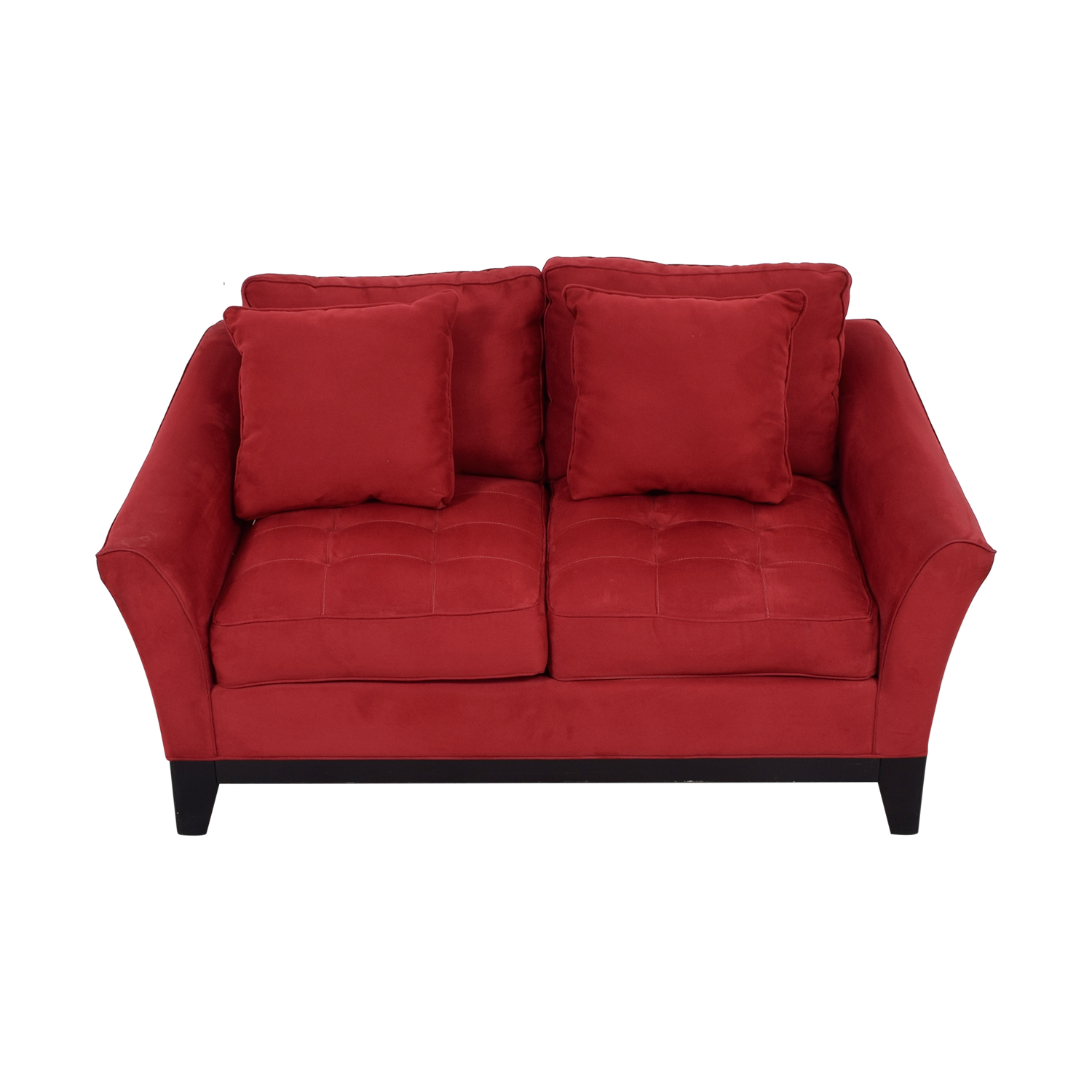 Raymour & Flanigan Raymour & Flanigan Red Microfiber Loveseat on sale