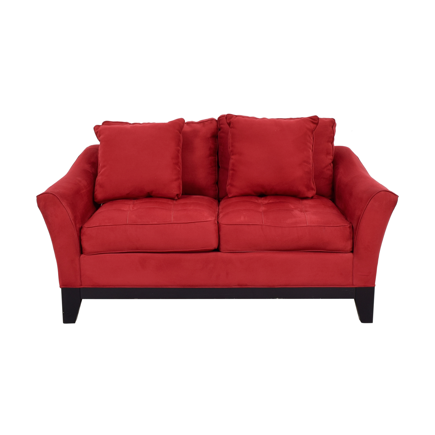 Raymour & Flanigan Red Microfiber Loveseat / Sofas