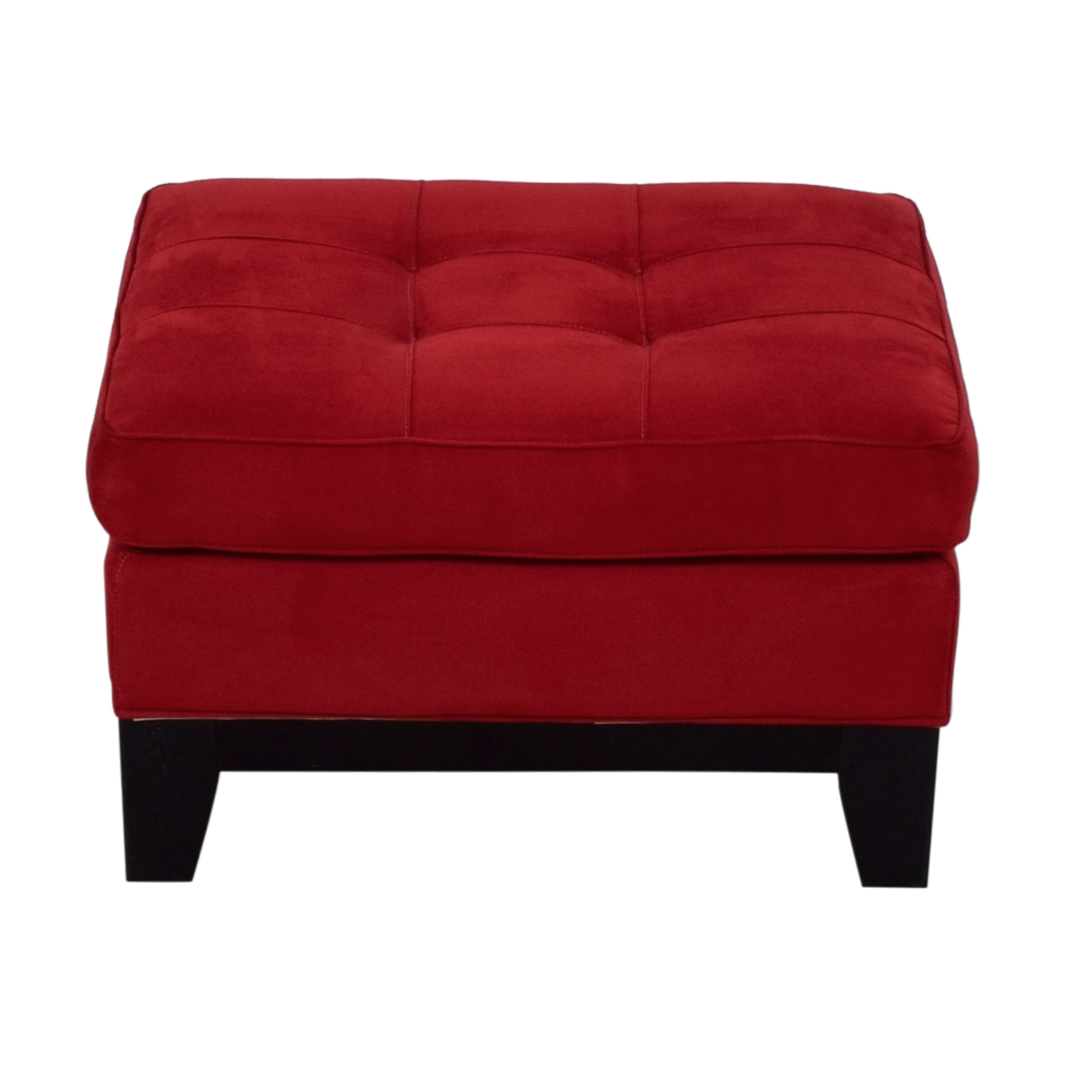 Raymour & Flanigan Raymour & Flanigan Red Microfiber Tufted Ottoman discount