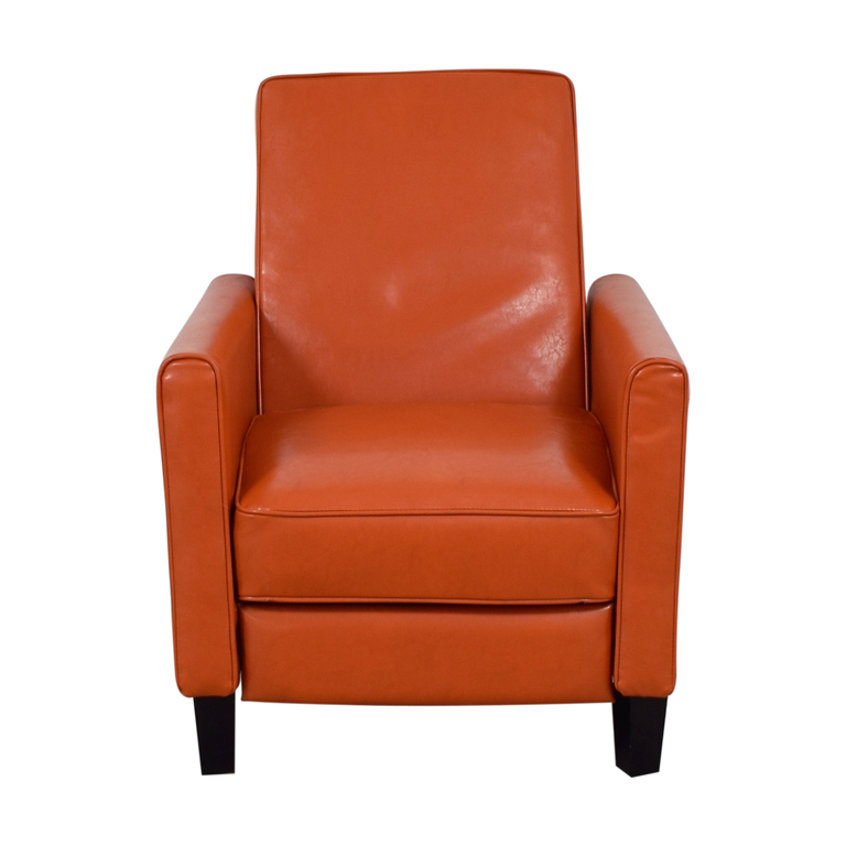 shop Christopher Knight Home Darvis Orange Bonded Leather Recliner Club Chair Christopher Knight Home