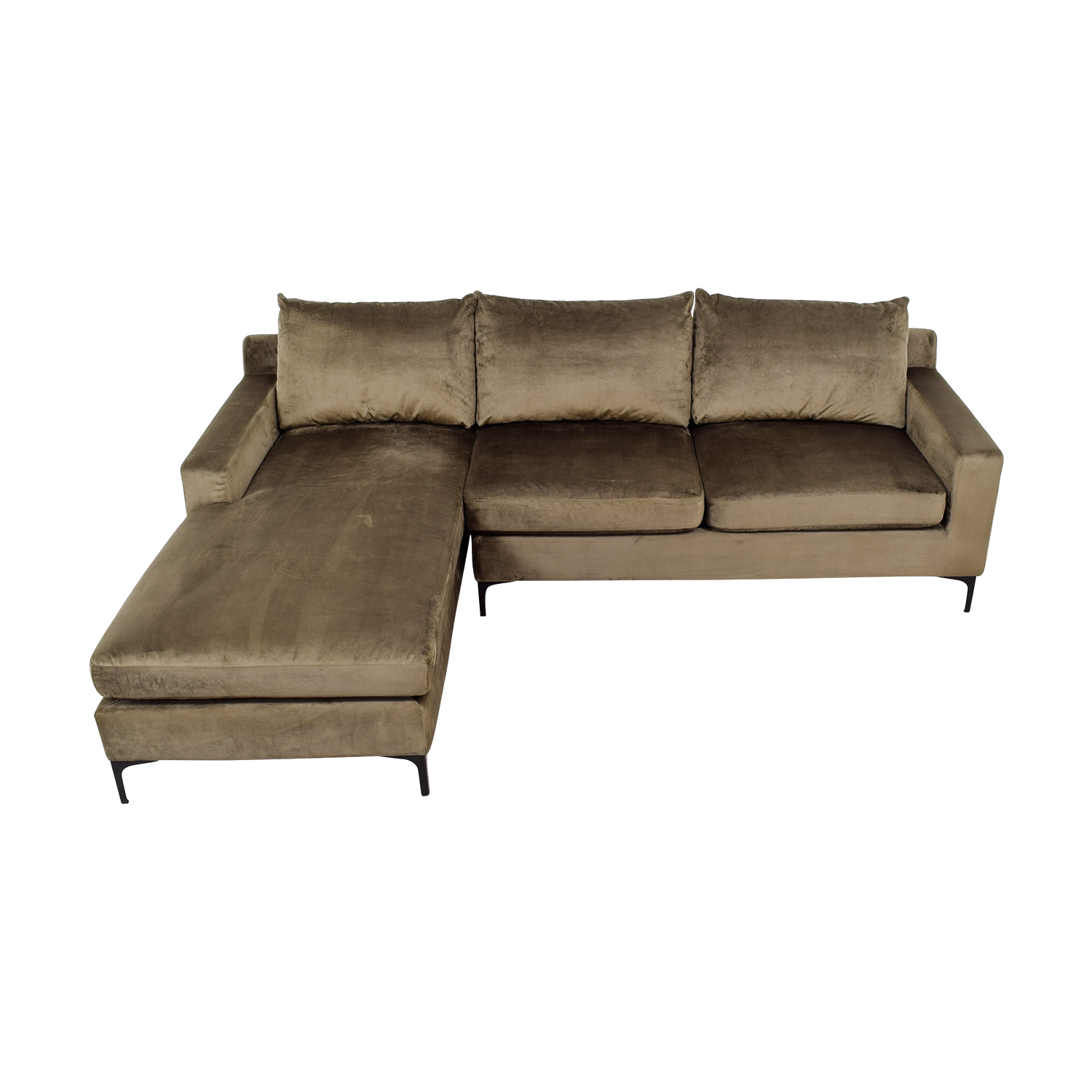 Sloan Mod Velvet Quartz Extended Chaise Sectional nyc