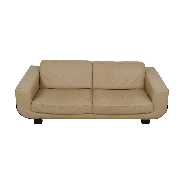 Natuzzi Natuzzi Beige Leather Two-Cushion Sofa price