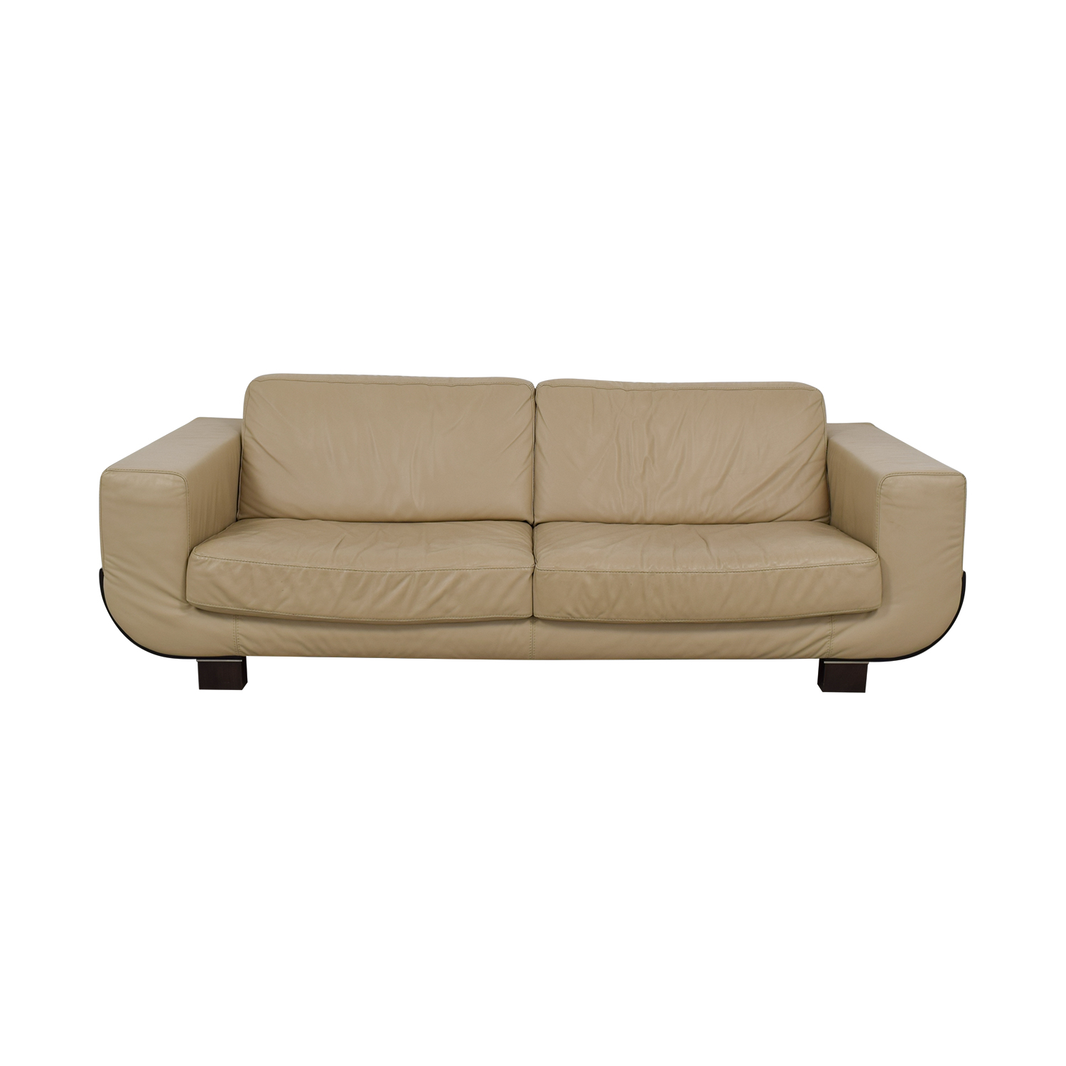 Natuzzi Natuzzi Beige Leather Two-Cushion Sofa dimensions
