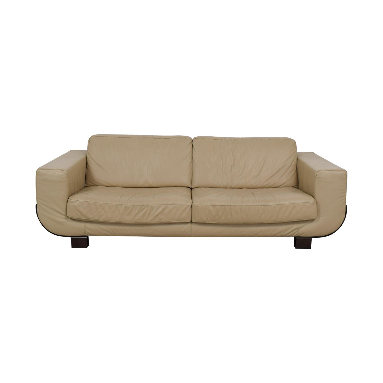 Natuzzi Beige Leather Two-Cushion Sofa sale