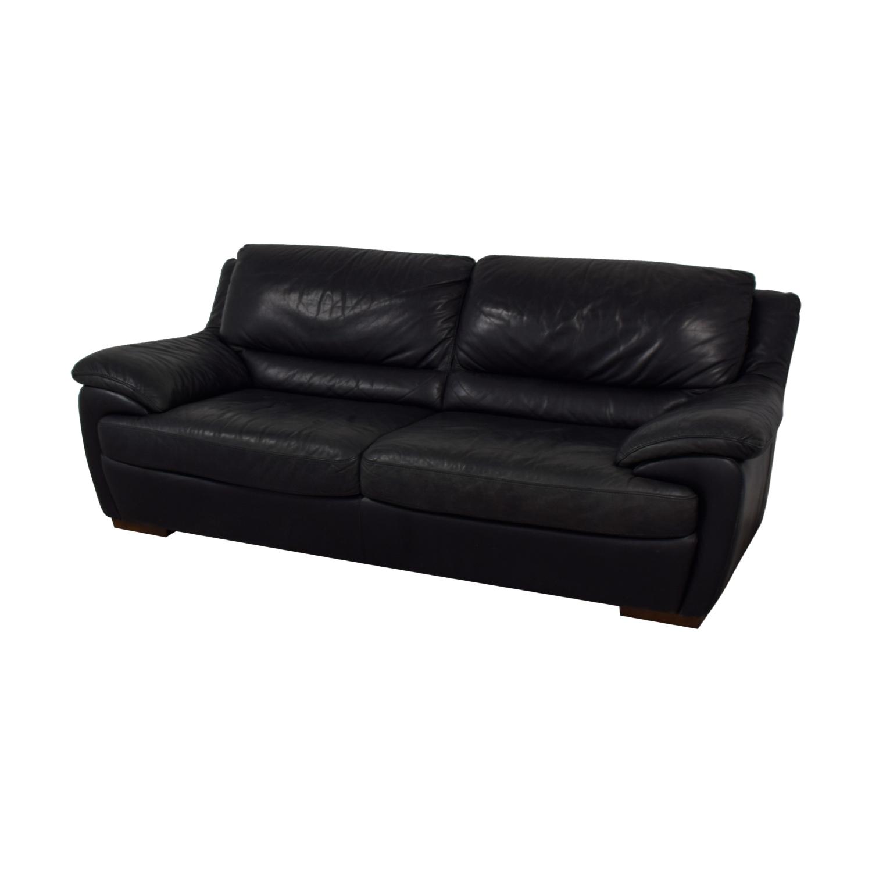 Fine 90 Off Natuzzi Natuzzi Black Leather Two Cushion Sofa Sofas Machost Co Dining Chair Design Ideas Machostcouk