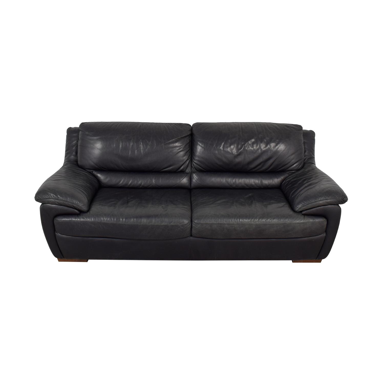 Natuzzi Natuzzi Black Leather Two-Cushion Sofa