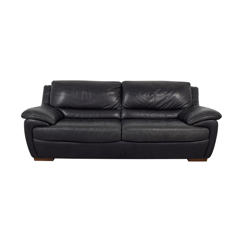 shop Natuzzi Black Leather Two-Cushion Sofa Natuzzi Classic Sofas