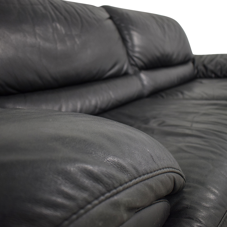 Fantastic 90 Off Natuzzi Natuzzi Black Leather Two Cushion Sofa Sofas Machost Co Dining Chair Design Ideas Machostcouk