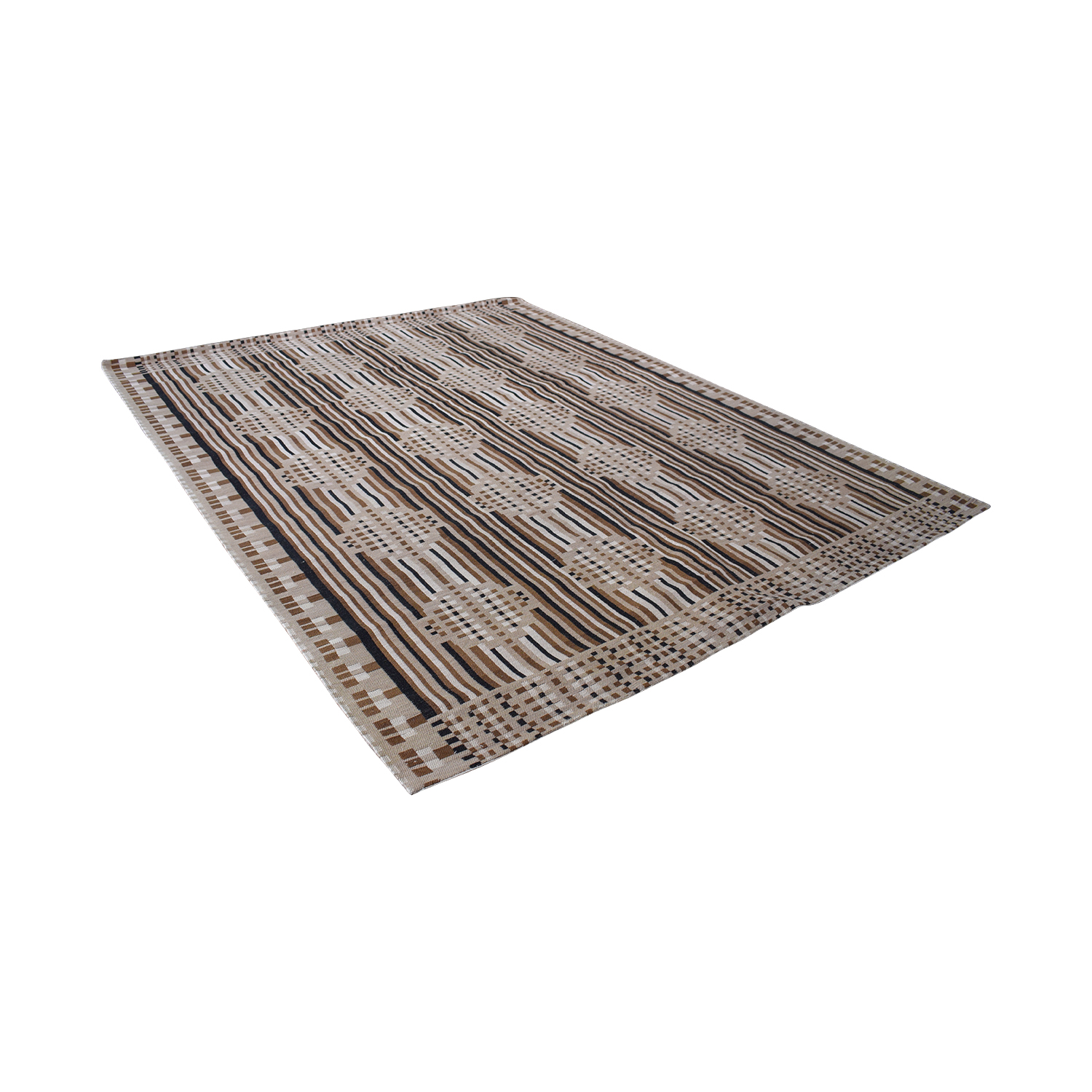 Obeetee Obeetee Chocolate and Tan Flat Weave Rug price