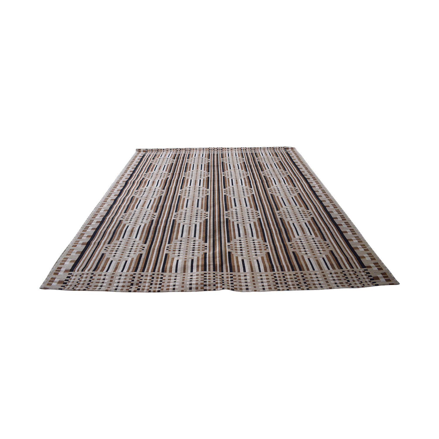 buy Obeetee Obeetee Chocolate and Tan Flat Weave Rug online