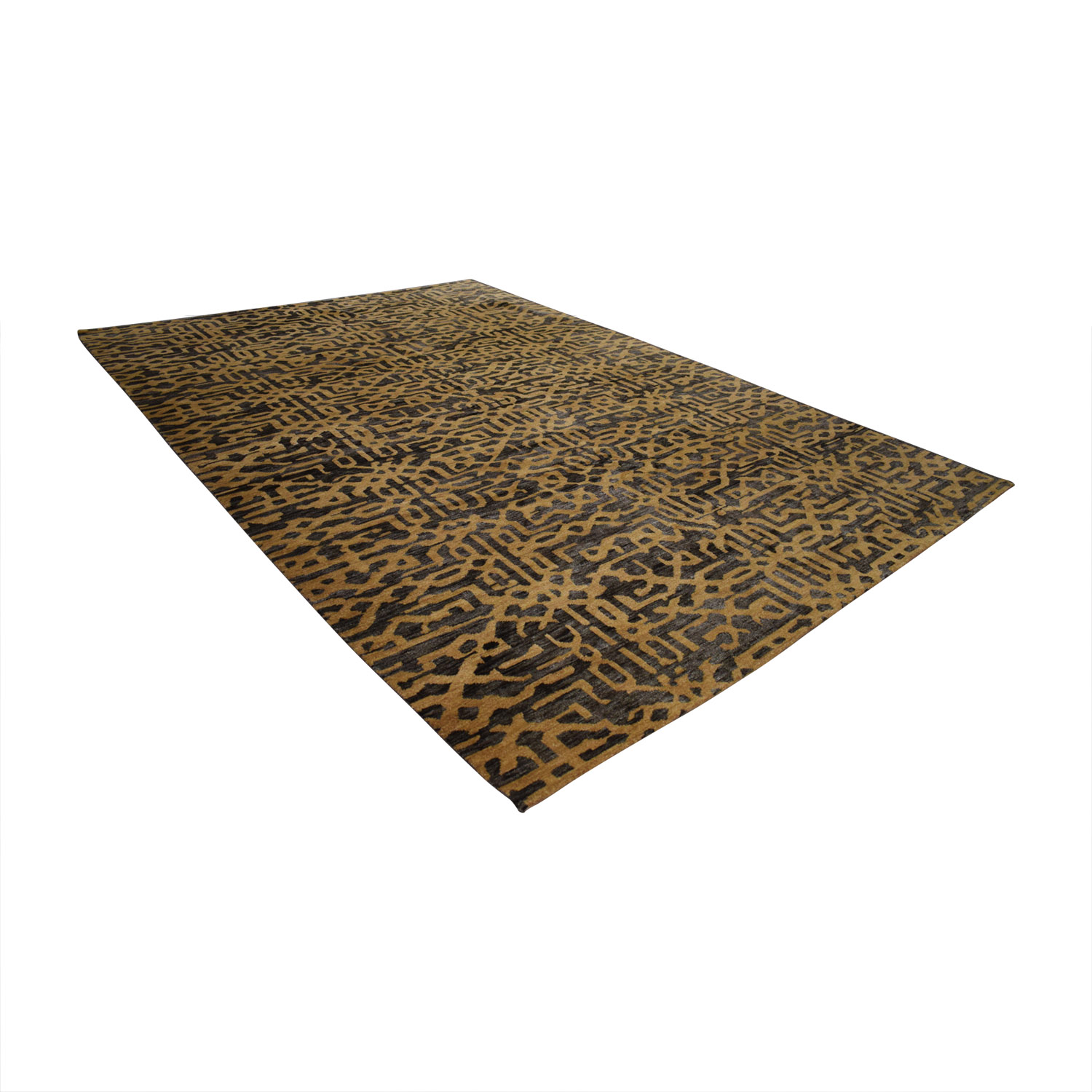 buy Obeetee Obeetee Handknotted Lattice Chocolate and Tan Rug online