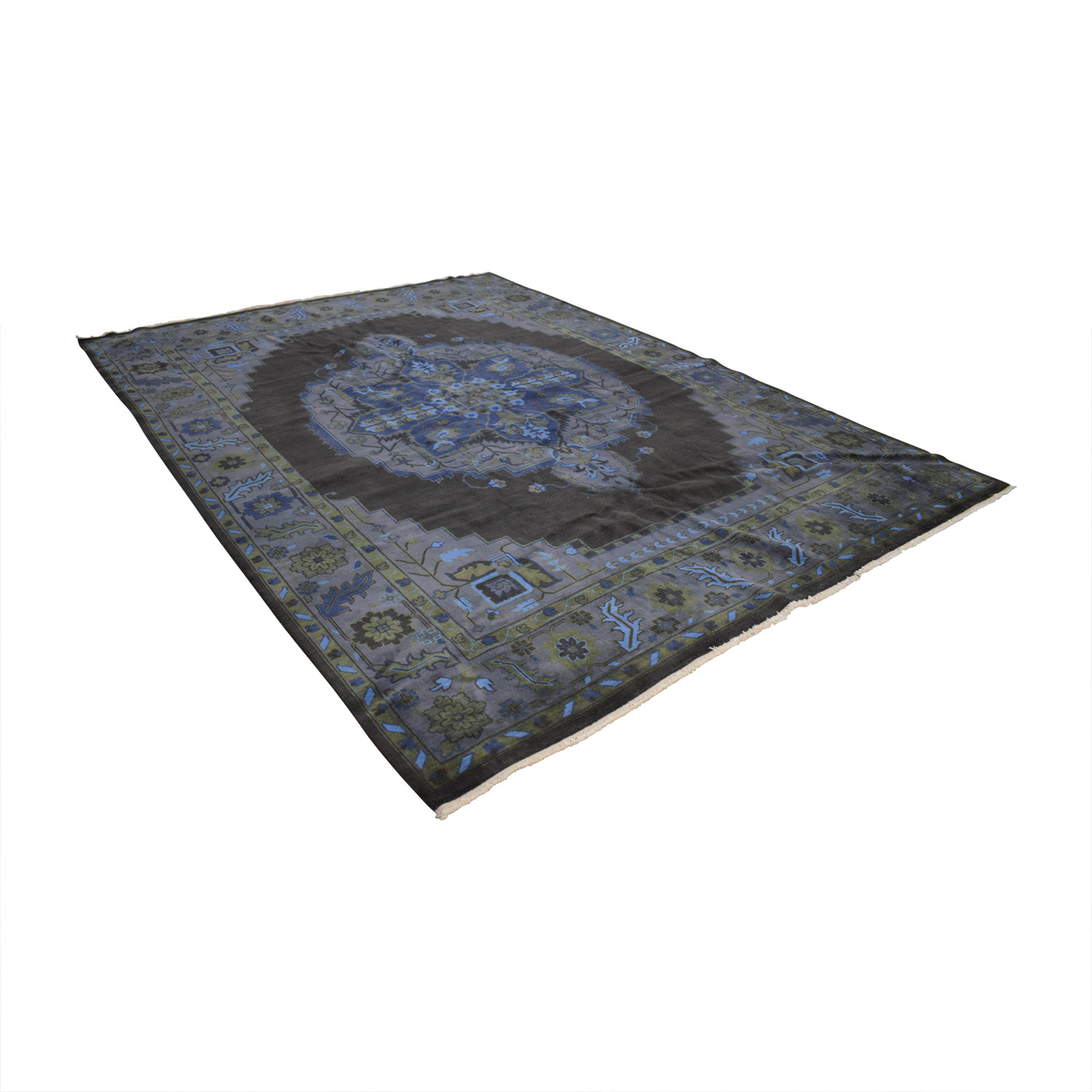 Obeetee Obeetee Handknotted Heriz Blue and Brown Rug coupon