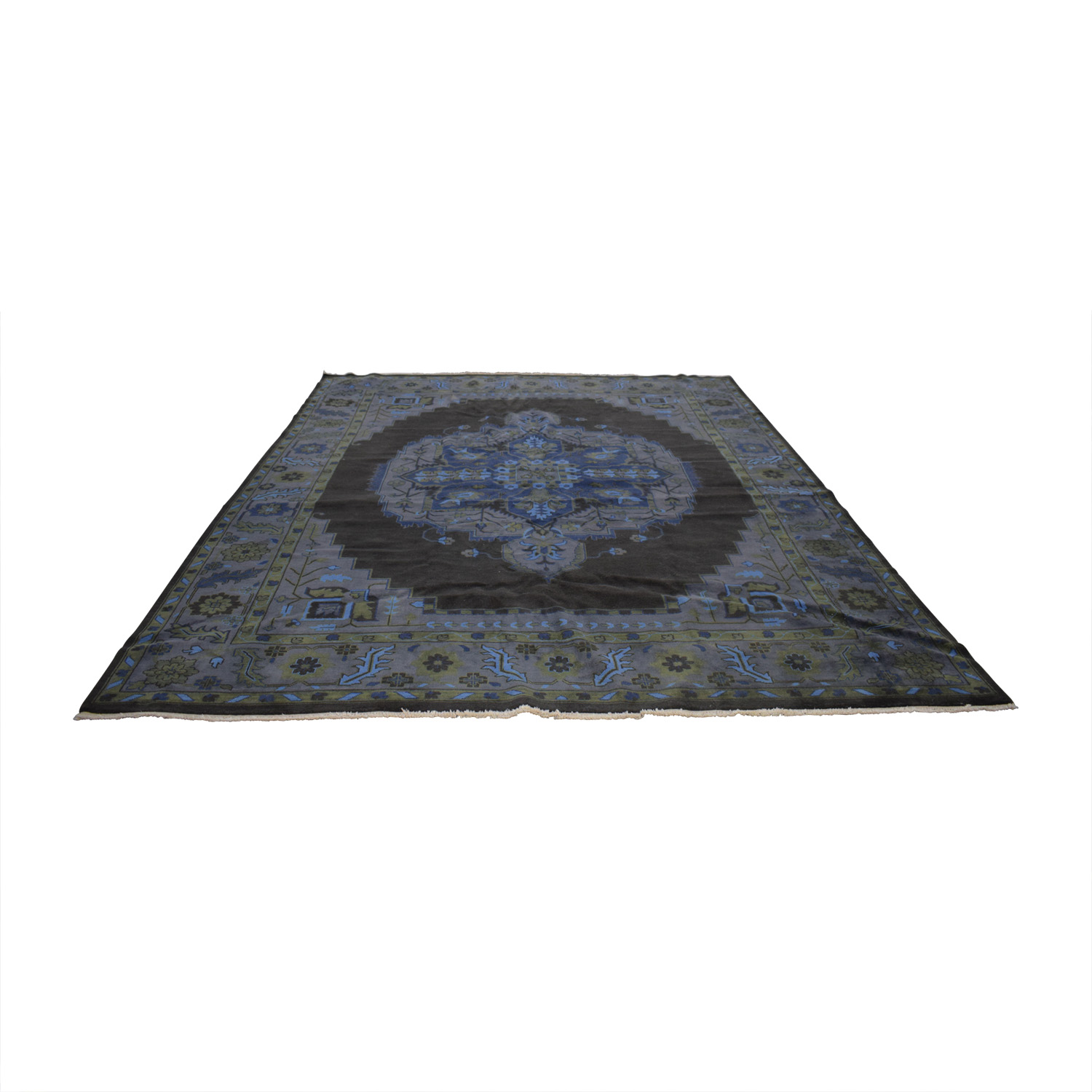 Obeetee Obeetee Handknotted Heriz Blue and Brown Rug nj