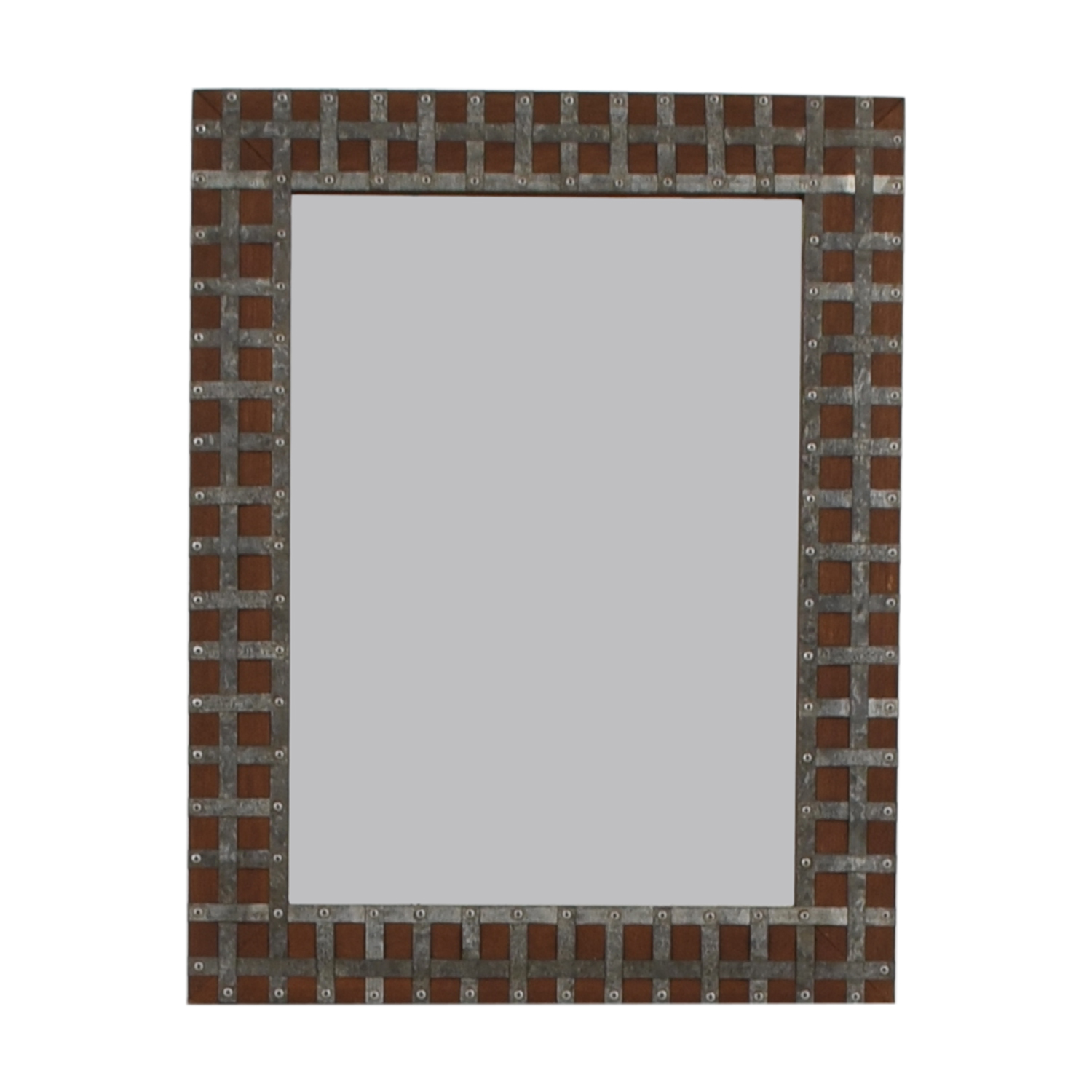 Pier One Pier One Industrial Wood and Metal Framed Wall Mirror discount