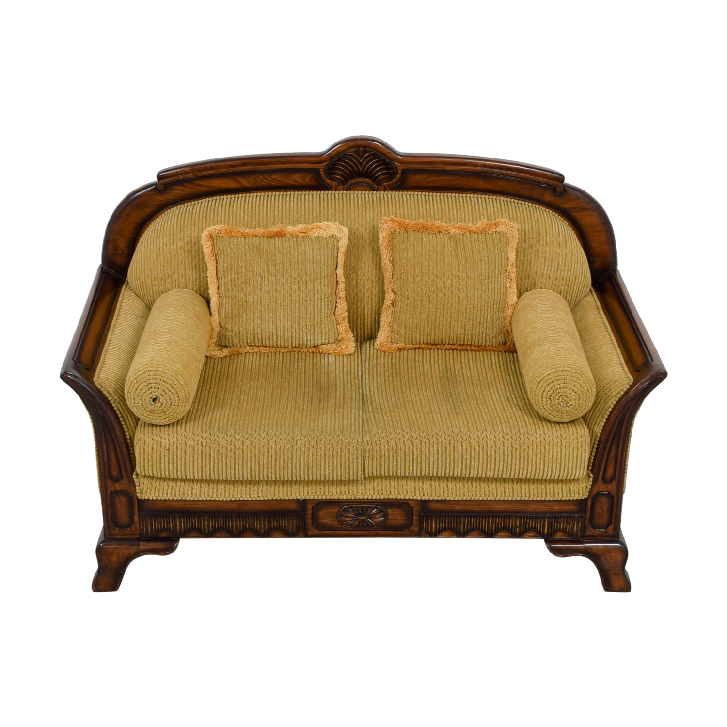 Striped Carved Wood Two Cushion Loveseat / Loveseats