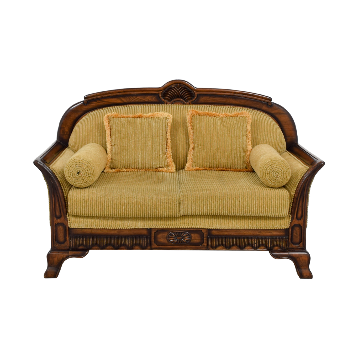 Striped Carved Wood Two Cushion Loveseat sale