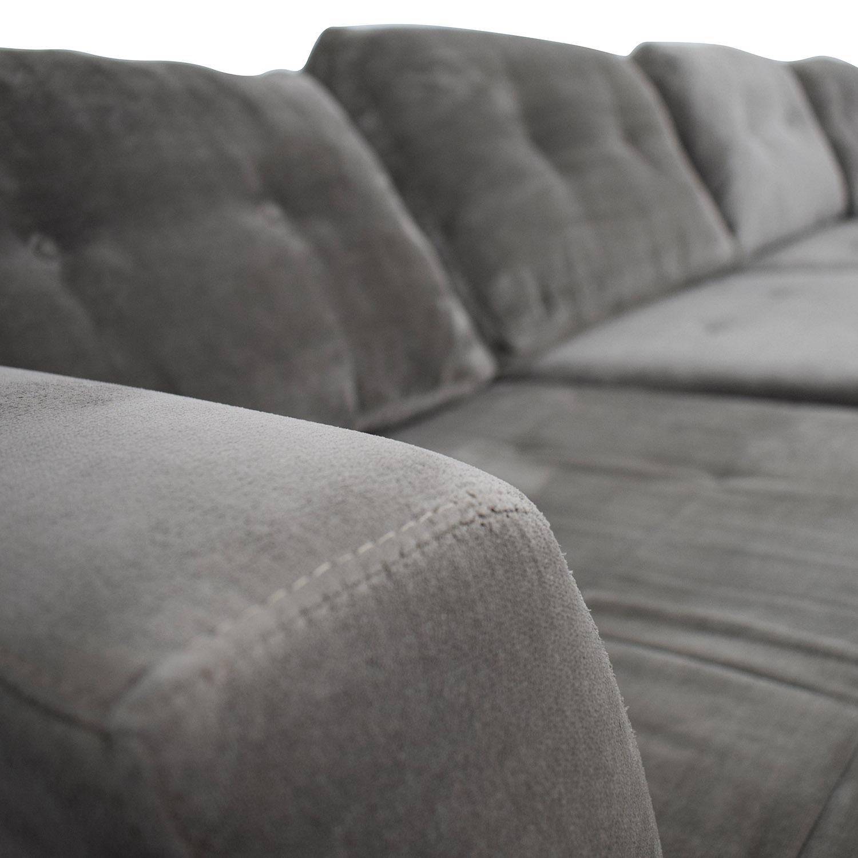 Sensational 75 Off Jonathan Louis Jonathan Lewis Elliot Grey Tufted Microfiber Chaise U Shaped Sectional Sofas Lamtechconsult Wood Chair Design Ideas Lamtechconsultcom