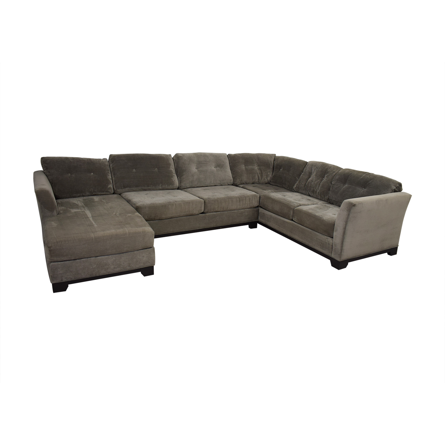 ... Jonathan Lewis Jonathan Lewis Elliot Grey Tufted Microfiber Chaise  U Shaped Sectional Sectionals ...