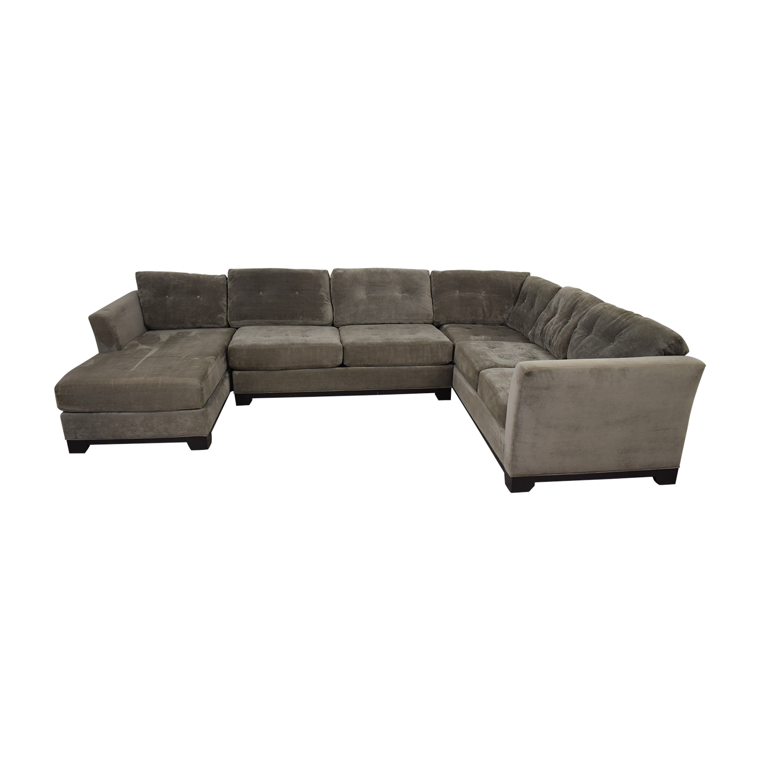 shop Jonathan Lewis Elliot Grey Tufted Microfiber Chaise U-Shaped Sectional Jonathan Lewis