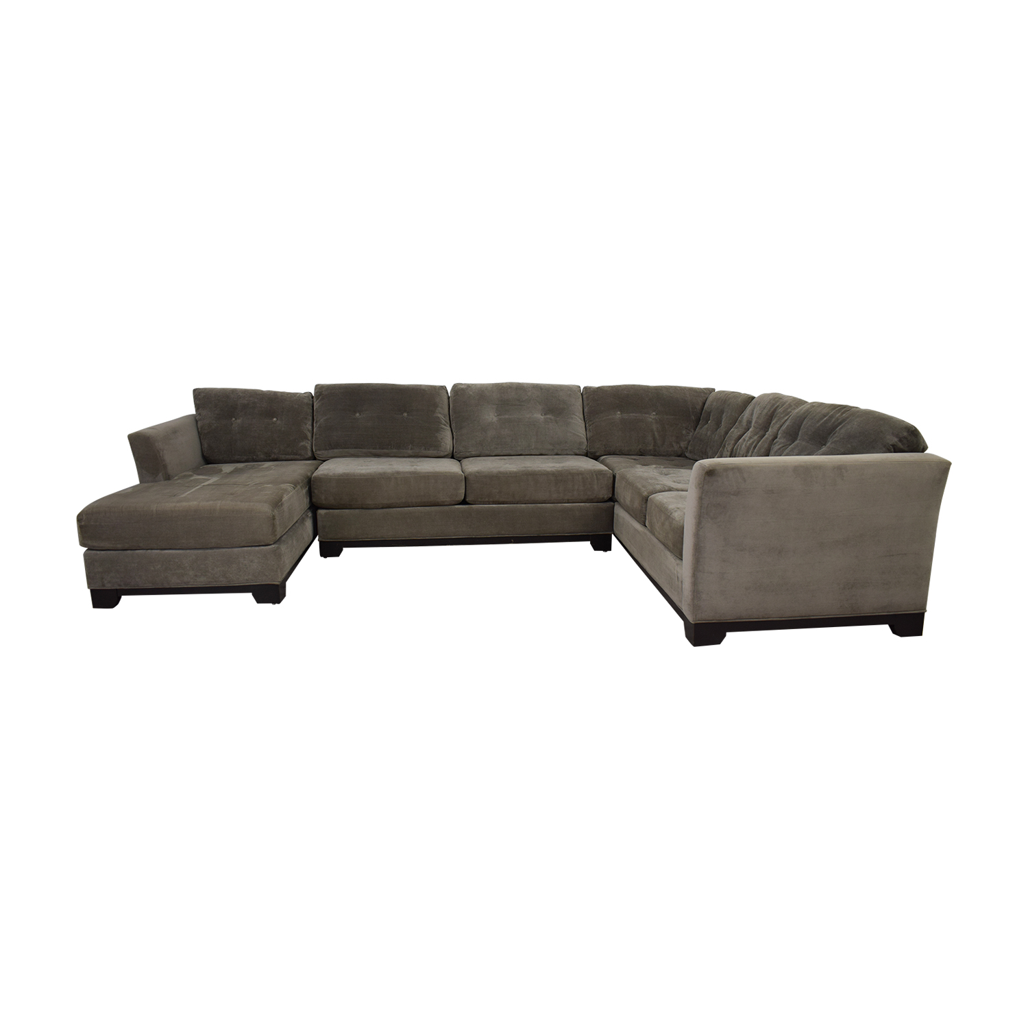 buy Jonathan Lewis Elliot Grey Tufted Microfiber Chaise U-Shaped Sectional Jonathan Lewis