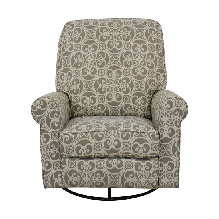 Abbyson Living Abbyson Living Grey and White Swivel Glider Rocking Chair nj