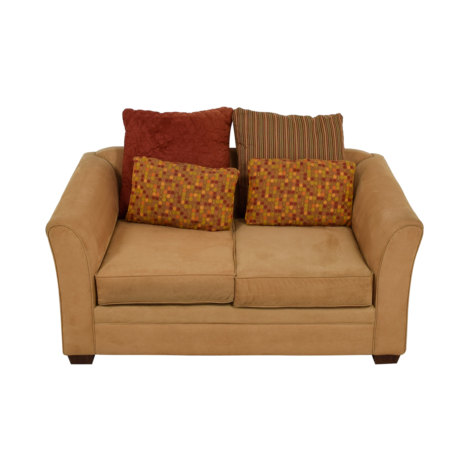 buy Raymour & Flanagan Raymour & Flanagan Camel Two-Cushion Loveseat online