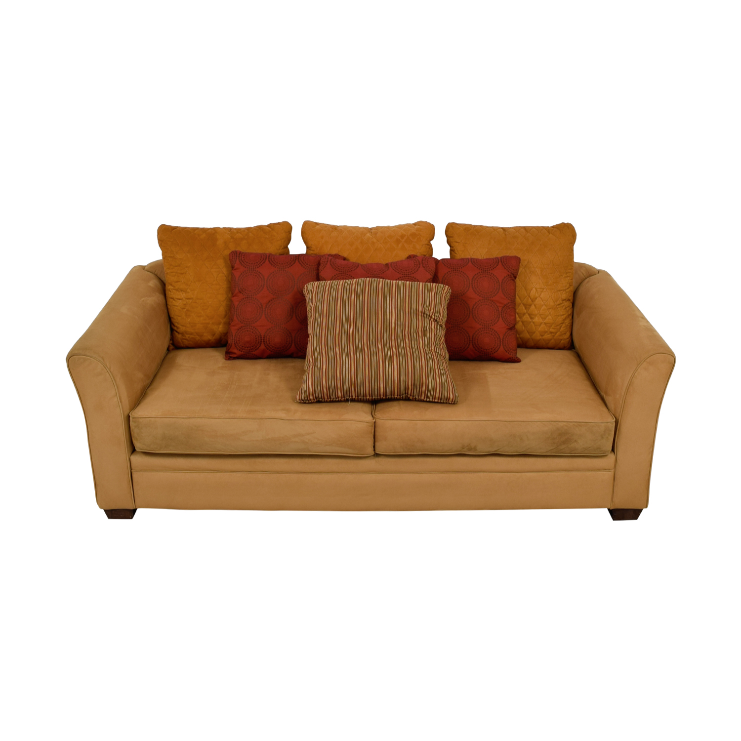 Raymour & Flanigan Raymour & Flanigan Camel Microsuede Two-Cushion Couch for sale