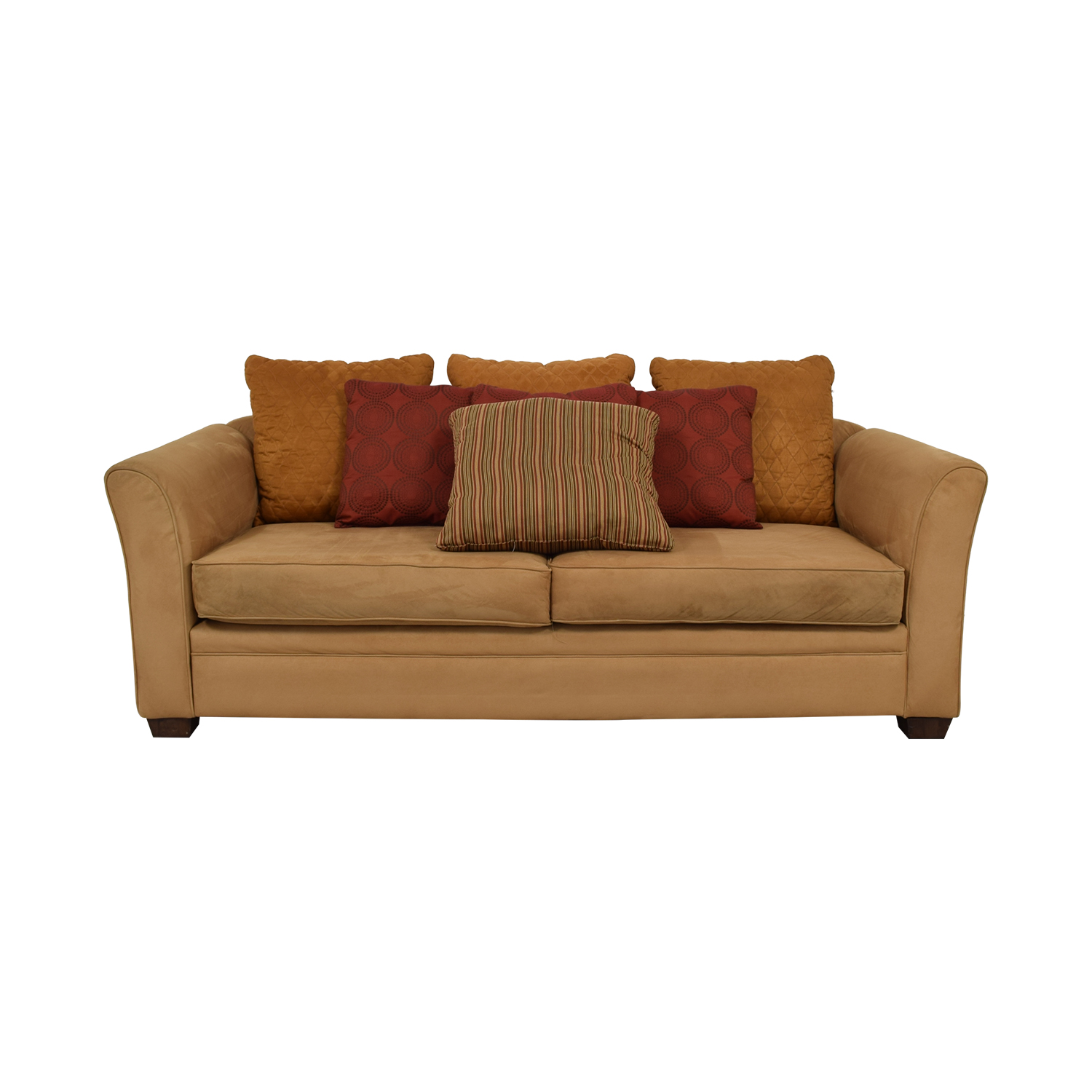 shop Raymour & Flanigan Camel Microsuede Two-Cushion Couch Raymour & Flanigan