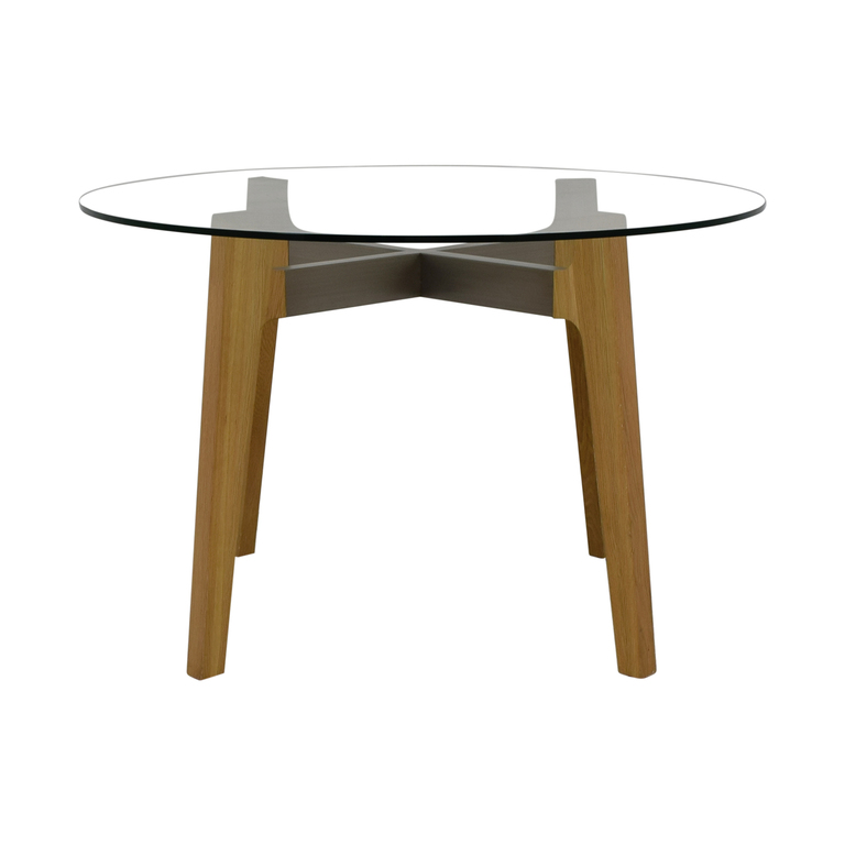 CB2 CB2 Round Glass Dining Table for sale